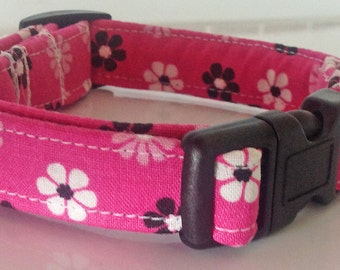 Pink Collar with Black and White Flowers for Girl Dog or Cat