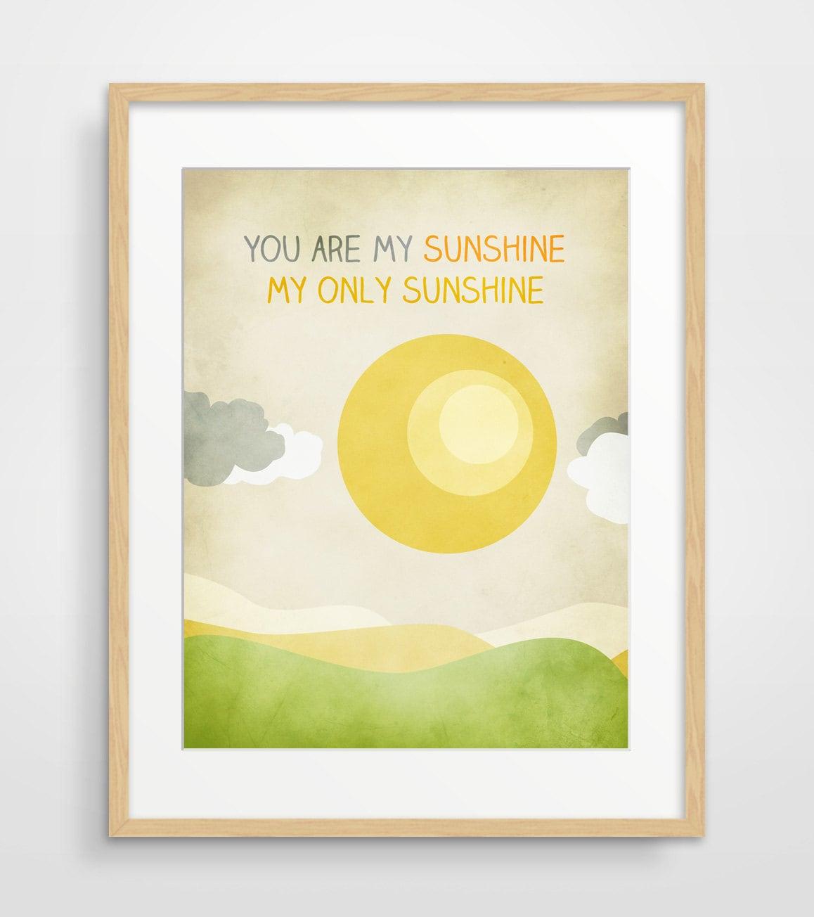 You Are My Sunshine Wall Art Nursery Decor Art for Kids