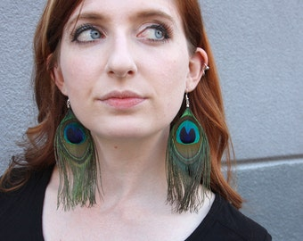 Classic Peacock Feather Earrings