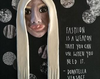 Donatella Versace framed artwork framed art Versace art framed quote fashion art fashion designer vogue magazine mixed media art box frame