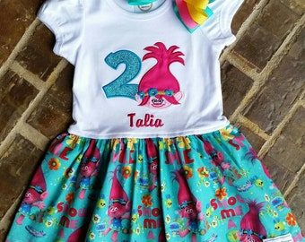 Girls Appliquéd Poppy Troll Dress with Embroidered Name and Birthday Number or Flower