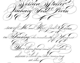 Wedding Invitation Set in Digital Calligraphy for printing letterpress handmade