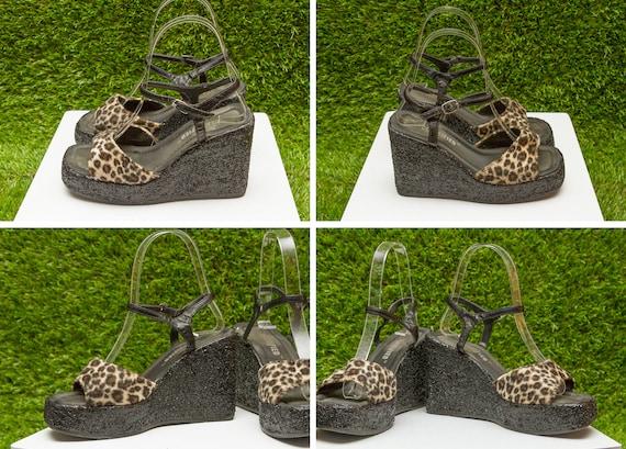 Cheetah Shoe Glitter Heel Leopard Wedge 90s Platform Fur Vintage Chunky 5 Strap Faux Velvet Tan Fuzzy Metallic Unlisted Velboa Black 5 T HwtnqU8g