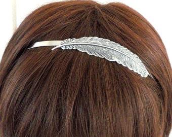 Steampunk Feather headband Metal Headband Silver Feather Headband