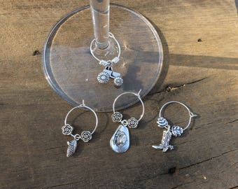 Wine glass charm rings country style with tractor, boot, hat and corn.