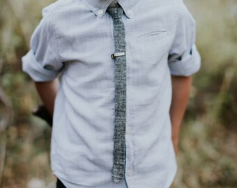 black chambray super skinny tie, Boys skinny tie - kids necktie - tie for kids, toddler necktie, baby tie