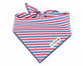 Red White Blue Stripe Dog Bandana