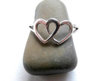 Double Heart Ring - Vintage Jewellery - Sterling Silver Ring - Delicate Ring