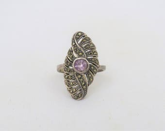 Vintage Sterling Silver Amethyst & Marcasite Long Ring Size 7.5