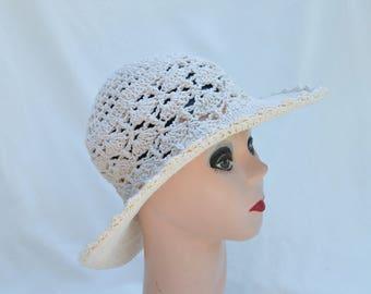 Cream Cotton Crochet Travel Hat / Packable Cotton Crochet Hat  / Cotton Hat / Garden Sun Hat / Travel Hat / Sun Hat / Cotton Yarn Hat