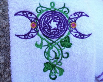 Triple Moon Machine Embroiderd Hand Towel in Purple