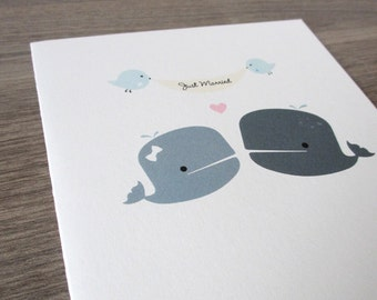 Wedding Card - Cute Whales Just Married. Eco Friendly