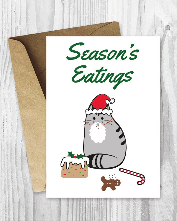 Printable holiday cards seasons eatings cat card funny zoom m4hsunfo
