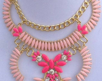 Sale Hot pink statement necklace,pastel pink statement necklace,rhinestone bib necklace,Pink multi strand necklace, special occasion gift