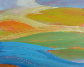 Valley Morning 24 Original abstract landscape oil painting