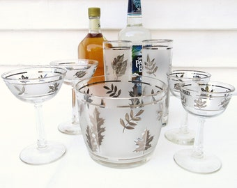 Vintage Frosted Glasses | Frosted Ice Bucket | Libbey Bar Glasses | Barware Set | Ice Bowl | Cocktail Glasses | Silver Leaf | Set of 7