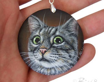 Custom Hand Painted Pet Pendant from Photo | Unique Jewels by Roberto Rizzo | Dog Portraits on Commission Wearable Fine Art Pet Memorial