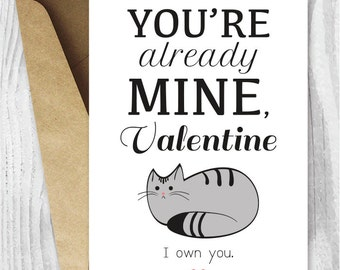 Valentines Card Funny Printable, Funny Valentine's Day Card, Funny Cat Valentine Digital Card, Downloadable Card, From the Cat Card Download