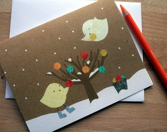 CARD: The Bauble Tree, Winter Greeting Card, Holiday Card, Christmas Card, blank