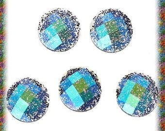 40 10 mm blue black resin cabochons