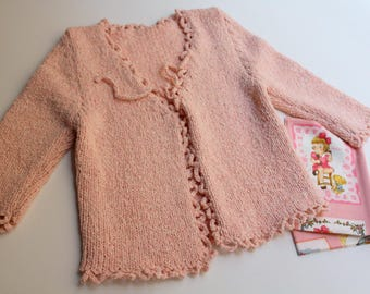 Golfer-handmade jacket for baby and girl-peach color