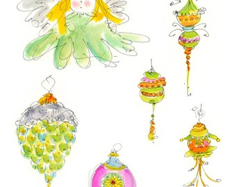 """CHRISTMAS CRAFTERS PAGE10...Clipart / Digital Download / 300 dpi/ hi resolution of Original Watercolor . 8""""x10"""" Great for any application."""
