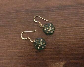 Green ethnic silver earrings