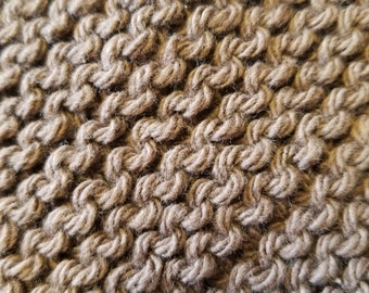 Handmade Knitted Dishcloth - Warm Brown