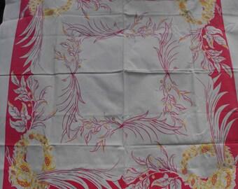 "Tan, Mauve and Yellow Vintage Tablecloth 46"" x 44""    (1281)"