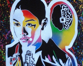 Asian android painting stencil art graffiti art canvas spray paints robots sci fi splash oriental colourful Street art abstract art Pop art