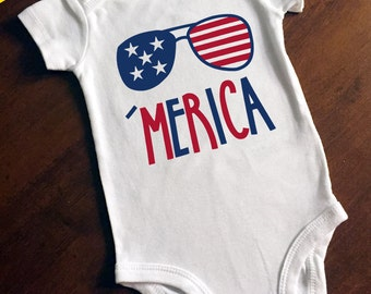 4th of July Red White and Blue 'Merica (America) One Piece/Bodysuit