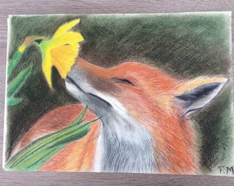 Fox smelling a flower (painting)