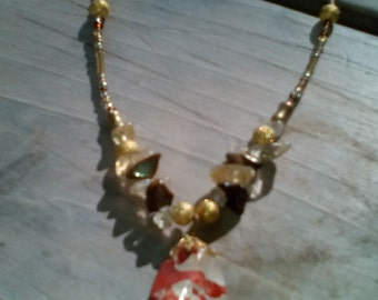 Orange Jasper Pendant Necklace with Tiger's Eye and Citrine Accents