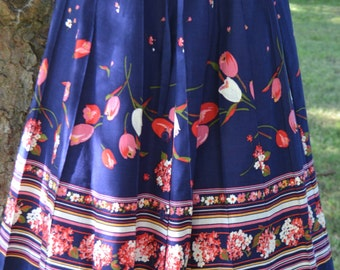 True 70's Blue Floral Front Button/Tie Boho Skirt by Herman Geist Size 8