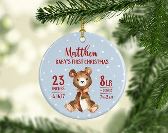 Babys First Christmas Ornament Bear Baby Christmas Ornament Babys First Christmas Ornament Personalized Baby Ornament Baby Boy Ornament Blue