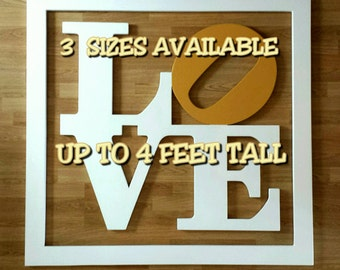 """Philadelphia LOVE park sign """"WITH FRAME"""".....3 sizes available.....wooden wall display"""