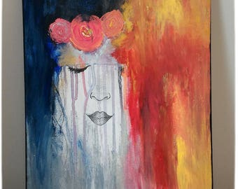 """Painting on canvas, """"Nina Roz"""" face, romantic inspiration watercolor, flower, Acrylic paint, colored 40 X 30 cm Christmas gift idea"""
