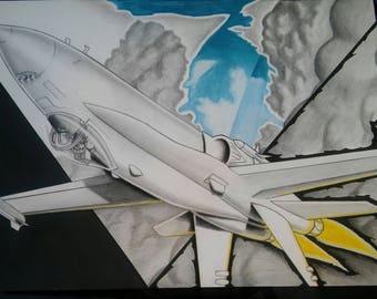 Aviation Art F/A-18 Hornet Fighter Jet