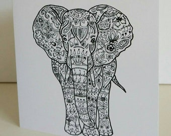Her Majesty fine art card from original elephant drawing by Bee Skelton. Any occasion birthday gift anniversary thank you