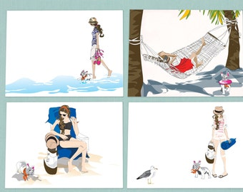 Greeting Card, note card, set of eight, Beach theme with girl and her french bulldog, fashion illustration greetings