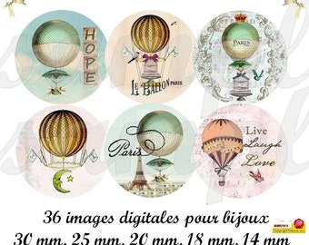 Digital collage sheet circles Hot air ballon, vintage images, one inch circle, digital rounds, digital bottlecap,printable images,