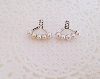 2pcs (1 pair) push back for 4mm Pearlescent white swarovski pearls Stud Earrings
