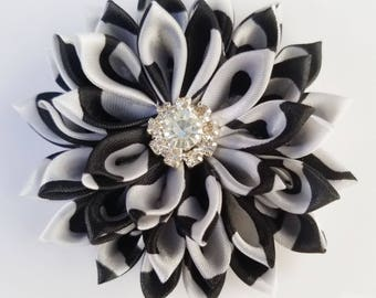 Black and White Kanzashi Hair Flower - Black and White Hair Clip - Black and White Hair Flower - Hair Flower - Black and White Accessories