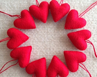 Red felt heart Valentine ornaments set of 10, wedding favors, Christmas, Valentines Day