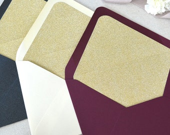 Gold Glitter Liners for Euro Flap Envelopes - Glitter Envelope Liners for Invitations