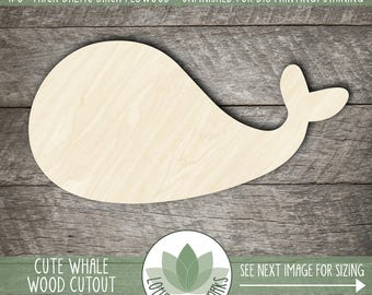 Cute Whale Wood Cutout, Laser Cut Wooden Whale, Whale Party Favors Decorations, Whale Wall Decor, Unfinished For DIY Projects, Many Sizes