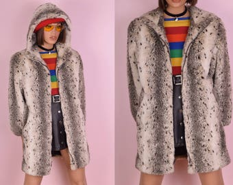 80s Spotted Faux Fur Hooded Coat/ Small/ 1980s/ Jacket