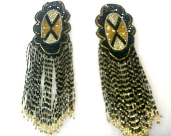Vintage  Beaded and Sequin Epaulets with 4 1/2 inch Bead Fringe - No. 1659