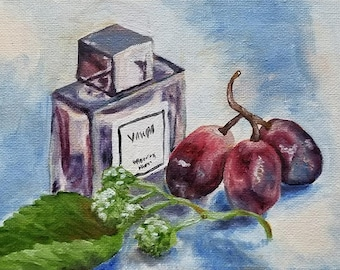 Perfume Still life Original oil painting 5by7inch
