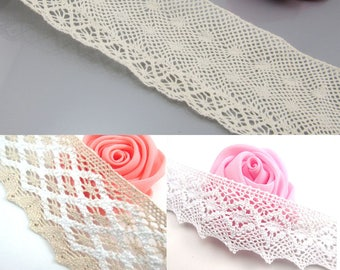 "5 Yards Cotton Ribbon lace Trim Dress Lace Trim Cotton Cluny Lace Embroidery 1 3/4"" 45mm 2 3/8"" 60mm 1 3/8"" 35mm"